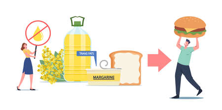Stop Rapeseed Oil, Spread or Cholesterol Products. Unhealthy Trans Fats Eating, Tiny Character Put Margarine on Toast