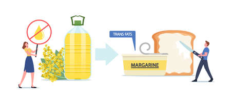 Unhealthy Trans Fats Eating, Tiny Male Character Put Margarine on Huge Toast, Woman with Crossed Oil Drop Banner