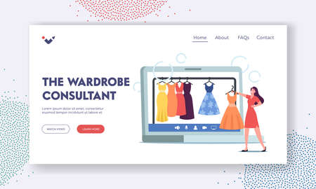 Wardrobe Consultant Landing Page Template. Woman and Personal Fashion Stylist Choose Stylish Clothes in Online Store