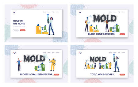 Toxic Mold Spores Landing Page Template Set. Pest Control Workers Characters in Respirator Spraying Disinfectant Ilustração