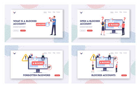 Blocked Account Landing Page Template Set. Tiny Characters at Huge Computer Monitor. Blocking Page, Hacker Cyber Attack Ilustração