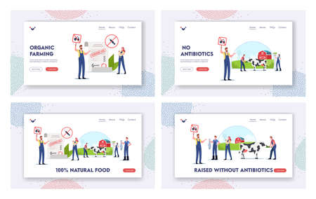 Natural Food Landing Page Template Set. Characters Sign Petition for Sustainable Organic Agriculture, Farming, Husbandry Ilustração
