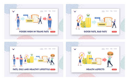 Fats, Oils, Unhealthy Eating Landing Page Template Set. Tiny Characters Eating Trans Margarine, Fastfood, Rapeseed Oil