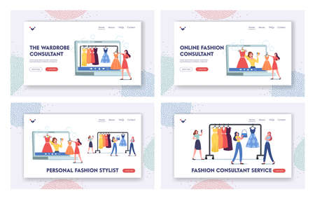 Girl Character Use Personal Fashion Stylist Online Service Landing Page Template Set. Wardrobe Consultant on Huge Laptop