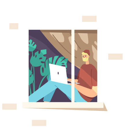 Remote Freelance Work Concept. Man Freelancer Wearing Hipster Clothes Sitting at Windowsill Working Distant on Laptop. Creative Employee Character Work at Home. Cartoon People Vector Illustration