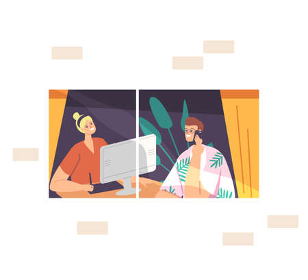 Freelance Selfemployed Occupation, Remote Workplace Concept. Man and Woman Freelancers Characters Sitting at Window Ilustração