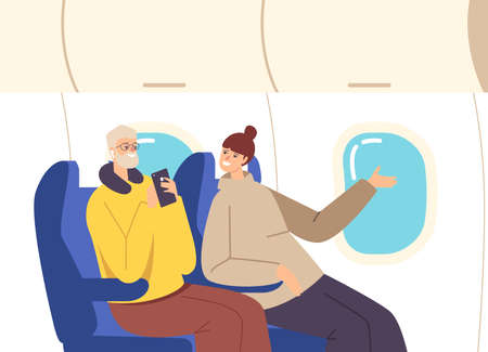 Happy Couple Fly by Airplane. Family Characters Husband with Travel Pillow and Smartphone and Wife Sitting at Armchairs Ilustração