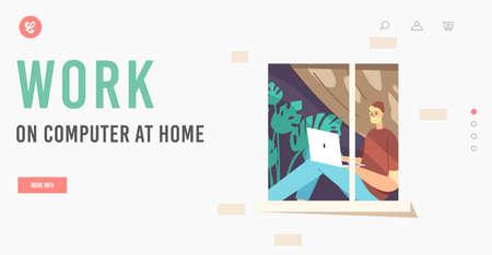 Remote Freelance Work Landing Page Template. Man Freelancer Wearing Hipster Clothes Sitting at Windowsill at Home Ilustração