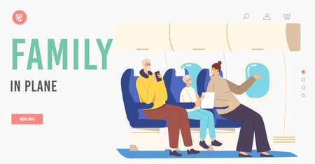 Family Characters in Plane Landing Page Template. Father, Mother and Son Sitting on Armchairs with Gadgets Communicate