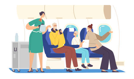 Flight Attendant Serving Passengers in Airplane Salon. Stewardess in Uniform Holding Teapot Bringing Drink to Family
