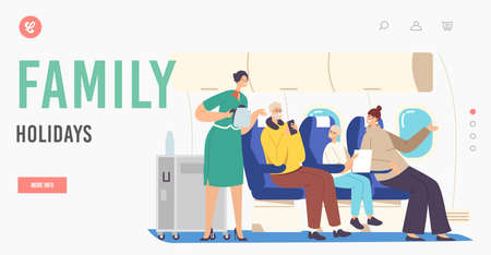 Family Holidays Landing Page Template. Flight Attendant Serving Passenger in Airplane. Stewardess in Uniform Hold Teapot