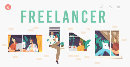 Freelancer Landing Page Template. Relaxed Characters in Windows. Remote Workplace, Freelance Outsourced Occupation