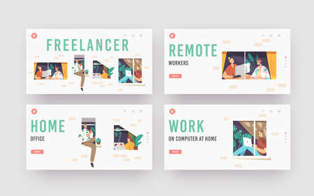 Freelancer Occupation Landing Page Template Set. Relaxed Characters in Windows. Remote Workplace, Freelance Distant Work