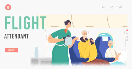 Flight Attendant Landing Page Template. Family Characters Inside of Plane. Stewardess and Passengers during Mealtime Ilustração