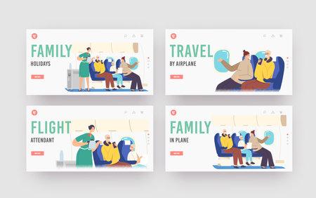 Family Holidays Landing Page Template Set. Flight Attendant Serving Passengers in Airplane Salon. Stewardess in Uniform Ilustração