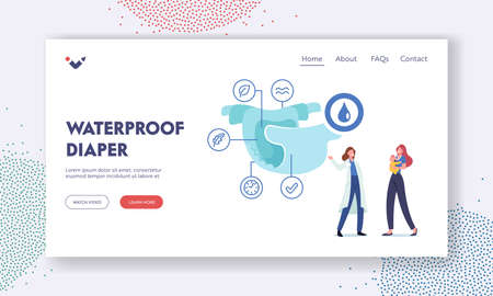 Waterproof Diaper Landing Page Template. Tiny Female Doctor Pediatrician Character Explain Diaper Properties to Mother Vetores