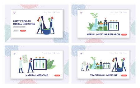Traditional Medicine Landing Page Template Set. Natural Herbal Medication Researches in Laboratory. Medical Homeopathy