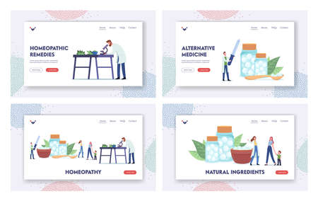 Homeopathy Landing Page Template Set. Pharmacists Characters Research Alternative Herbal Medicine, Plants Healing