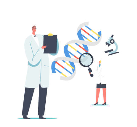 Laboratory Research and Development. Medicine Technology Genetic Testing. Scientists Characters Working with Dna