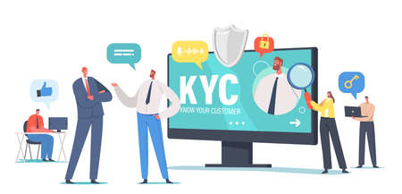 KYC, Know Your Customer Concept, Business Verifying of Clients Identity or Suitability, Business people Learning Customer Vektorové ilustrace