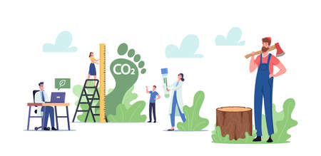 Carbon Footprint. Tiny Characters Measure Co2 Emission Pollution Amount in Air. Dioxide Greenhouse Gases, Climate Change Ilustração Vetorial