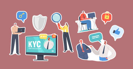 Set of Stickers Kyc, Know Your Customer Theme. Tiny Business people Characters with Huge Magnifying Glass, Laptop, Shield