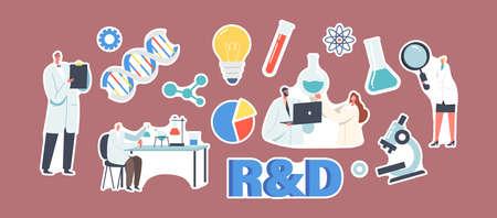 Set of Stickers R&D, Laboratory Research and Development Theme. Scientist Characters Conduct Experiment in Lab Vektoros illusztráció