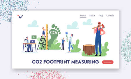 Co2 Footprint Measuring Landing Page Template. Tiny Characters Measure Carbon Emission Amount in Air. Dioxide Greenhouse