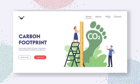 Carbon Footprint Landing Page Template. Tiny Female Character Measure Huge Green Foot, Co2 Emission Environmental Impact