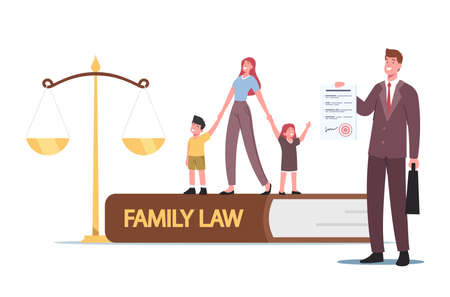 Family Law, Divorce, Child Custody or Alimony Concept. Tiny Mother Character with Kids and Attorney at Huge Scales 向量圖像