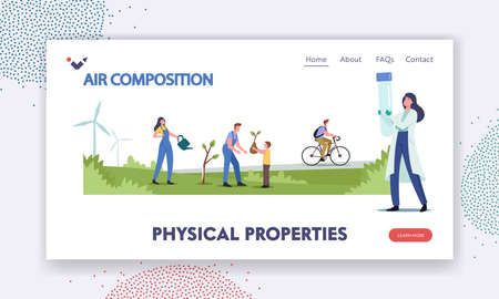 Physical Properties Landing Page Template. Characters Planting Trees, Use Eco Transport and Green Nature Energy