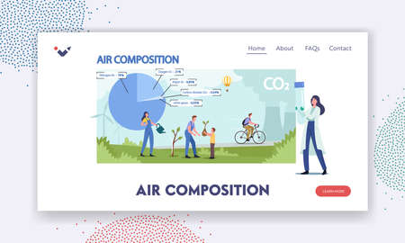 Atmospheric Air Composition Landing Page Template. Tiny Male Female Characters at Huge Pie Chart with Gases and Elements