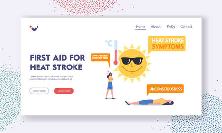 First Aid for Heat Stroke Landing Page Template. Female Characters Suffer of Sun Heat with Strong Heartbeat or Red Skin Vettoriali
