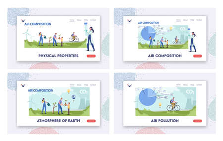 Atmospheric Air Composition Landing Page Template Set. Tiny Male Female Characters at Huge Pie Chart with Gases Ilustração Vetorial