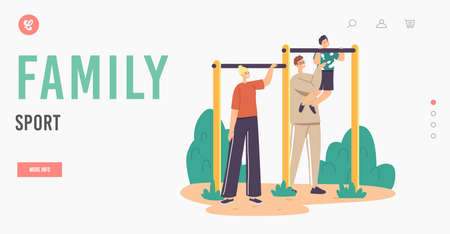 Family Sport Landing Page Template. Father and Mother Training Little Boy on Horizontal Bar. Son with Dad Exercising Ilustração Vetorial