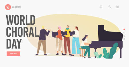 World Choral Day Landing Page Template. Choir Singers Characters Singing in Chorus with Musical Accompaniment