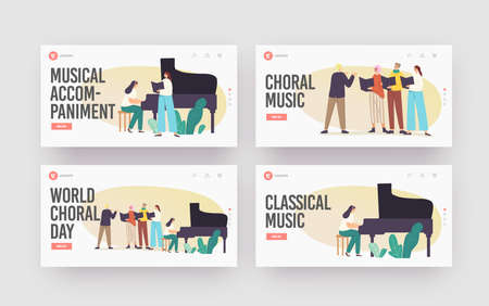 Choral Music Landing Page Template Set. Choir Singers Characters Singing in Chorus with Musical Accompaniment