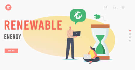 Renewable Energy Landing Page Template. Tiny Business People at Huge Hourglass with Green Sand and Earth Globe 向量圖像