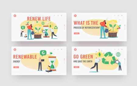 Refresh and Renew Life Landing Page Template Set. Tiny Characters Restart Project with New Vision or Rework Strategy