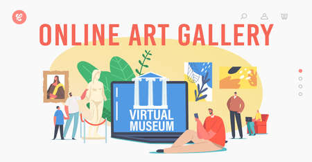 Online Art Gallery Technology Landing Page Template. People Visiting Virtual Museum Exhibition, Digital Tour Vector Illustration