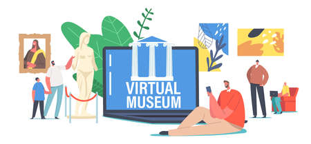 People Visiting Virtual Museum Online Exhibition Tour to Art Gallery, Tiny Characters at Huge Laptop With Masterpieces