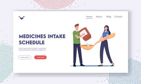 Medicine Intake Schedule Landing Page Template. Tiny Male Character Pour Medication from Bottle in Huge Spoon, Treatment Vektoros illusztráció