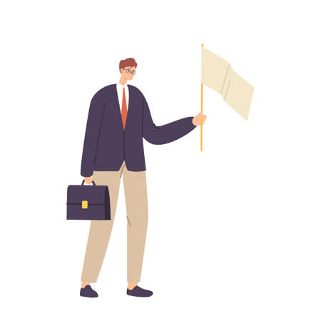 Unhappy Male Character Holding Briefcase and White Flag Admit Defeat. Loser Give Up, Anxious Businessman Capitulation