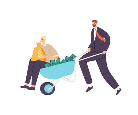 Businessman Character Push Wheelbarrow with Money and Man Holding Sack with Dollars. Business Growth, Wealth, Prosperity