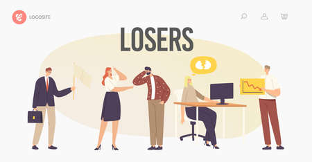 Characters Losers Landing Page Template. Businesswoman Deleted Data from Computer, Hater Laughing on Upset Man Vecteurs