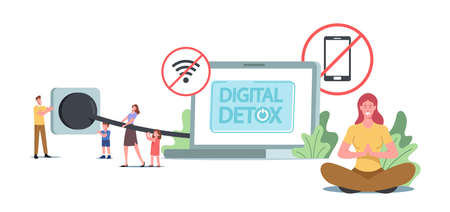 Digital Detox Concept. Tiny Characters Disconnect Huge Laptop Plug and Socket, Exit Social Media Networks, Offline Relax