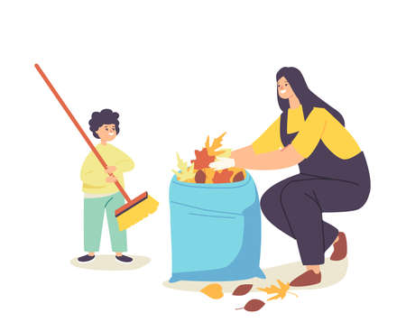 Happy Mother and Little Baby Collecting Fallen Autumn Leaves into Bag. Family Characters Cleaning Backyard Having Fun