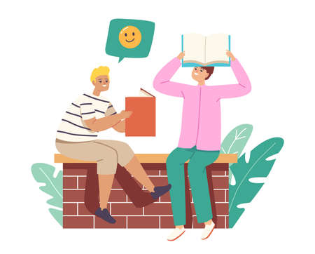 Readers or Students Characters Holding Book above Head Reading, Learning Homework or Prepare to Exams in University Иллюстрация