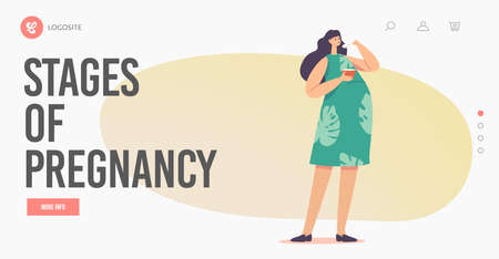 Stages of Pregnancy Landing Page Template. Female Character with Big Belly Enjoy Meal. Pregnant Woman Eating Soup Stock Illustratie
