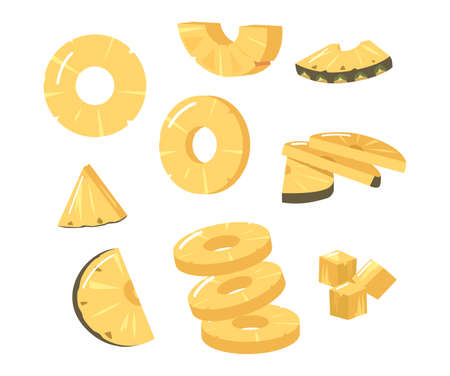 Set Pineapple Round and Triangular Slices, Fresh Tropical Plant. Sliced Natural Exotic Fruit with Juicy Pulp, Product